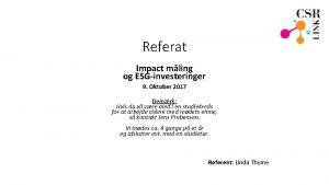 Referat Impact mling og ESGinvesteringer 9 Oktober 2017