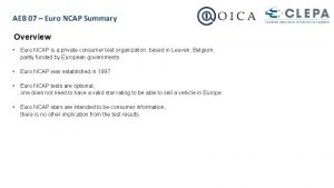 AEB 07 Euro NCAP Summary Overview Euro NCAP