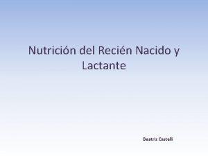 Nutricin del Recin Nacido y Lactante Beatriz Castelli
