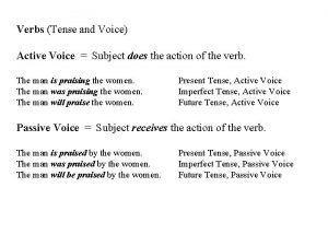 Verbs Tense and Voice Active Voice Subject does