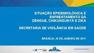 SITUAO EPIDEMIOLGICA E ENFRENTAMENTO DA DENGUE CHIKUNGUNYA E
