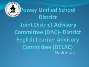 Poway Unified School District Joint District Advisory Committee