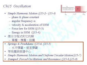 Ch 15 Oscillation Simple Harmonic Motion 15 2