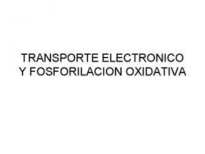 TRANSPORTE ELECTRONICO Y FOSFORILACION OXIDATIVA 1 CADENA TRANSPORTADORA