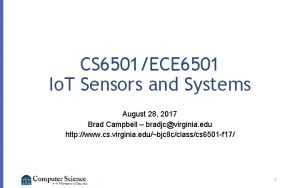 CS 6501ECE 6501 Io T Sensors and Systems