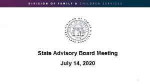 State Advisory Board Meeting July 14 2020 1