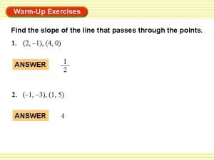 WarmUp Exercises Find the slope of the line