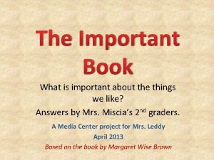 The Important Book What is important about the