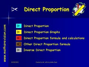 www mathsrevision com Direct Proportion Graphs Direct Proportion