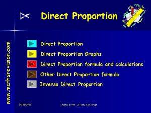 www mathsrevision com Direct Proportion Graphs Direct Proportion