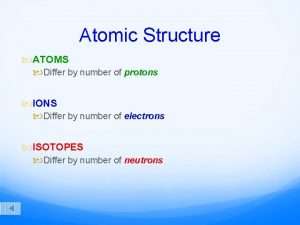 Atomic Structure ATOMS Differ by number of protons