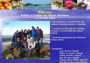 BEMA 2016 Biologie et Ecologie des Milieux Aquatiques