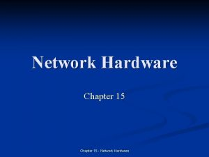 Network Hardware Chapter 15 Network Hardware Introduction n