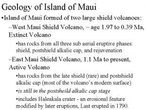 Geology of Island of Maui Island of Maui