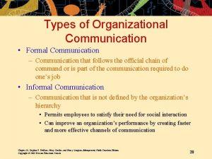 Types of Organizational Communication Formal Communication Communication that
