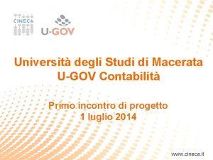 Universit degli Studi di Macerata UGOV Contabilit Primo