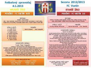 Fotbalov zpravodaj 4 5 2013 Sezona 20122013 FC