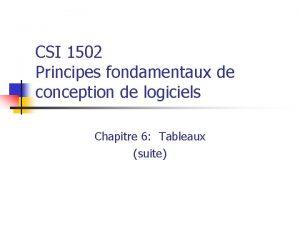 CSI 1502 Principes fondamentaux de conception de logiciels