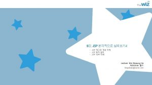 9 JSP I JSP JSP JSP Lecturer Kim