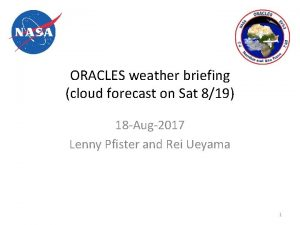 ORACLES weather briefing cloud forecast on Sat 819
