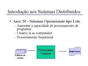 Introduo aos Sistemas Distribudos Anos 50 Sistemas Operacionais