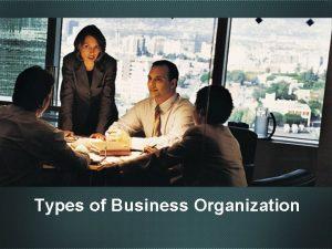 Types of Business Organization Sole Proprietorship q Proprietor