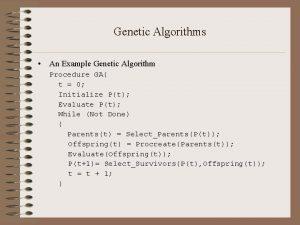 Genetic Algorithms An Example Genetic Algorithm Procedure GA
