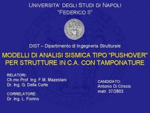UNIVERSITA DEGLI STUDI DI NAPOLI FEDERICO II DIST