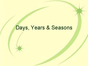 Days Years Seasons Days and Nights Rotation the