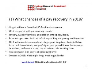 ati 1 What chances of a pay recovery