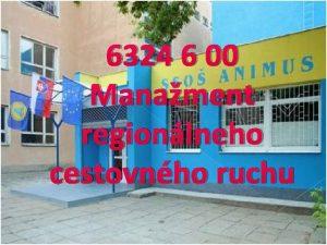 6324 6 00 Manament regionlneho cestovnho ruchu Skromn