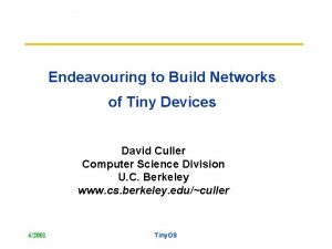 Endeavouring to Build Networks of Tiny Devices David