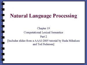 Natural Language Processing Chapter 19 Computational Lexical Semantics