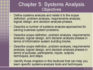 Chapter 5 Systems Analysis Objectives Define systems analysis