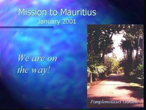 Mission to Mauritius January 2001 We are on