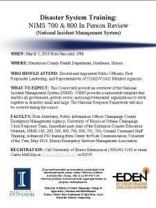 Disaster System Training NIMS 700 800 In Person