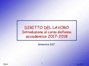 DIRITTO DEL LAVORO Introduzione al corso dellanno accademico