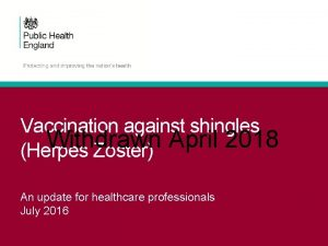 Vaccination against shingles Withdrawn April 2018 Herpes Zoster