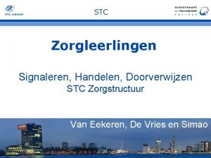 STC Zorgleerlingen Signaleren Handelen Doorverwijzen STC Zorgstructuur Van