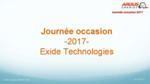 Journe occasion 2017 Journe occasion 2017 Exide Technologies