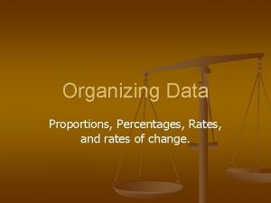 Organizing Data Proportions Percentages Rates and rates of