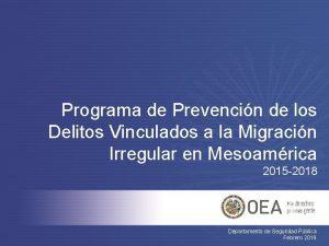Programa de Prevencin de los Delitos Vinculados a