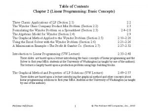 Table of Contents Chapter 2 Linear Programming Basic
