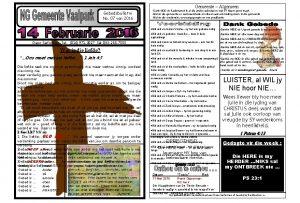 Gemeente Algemeen Gebedsbulletin No 07 van 2016 Dank