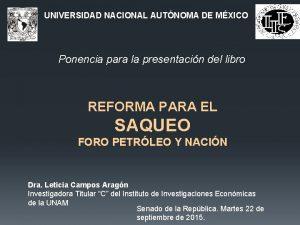 UNIVERSIDAD NACIONAL AUTNOMA DE MXICO Ponencia para la