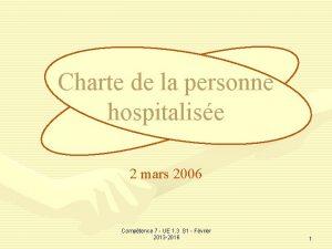 Charte de la personne hospitalise 2 mars 2006