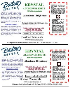 KRYSTAL ALUMINUM BRITE Krystal is a readytouse complex