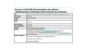 Annexe e CH0202 Documentation des affaires Administration numrique