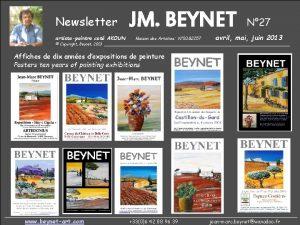 Newsletter artistepeintre cot AKOUN JM BEYNET Maison des