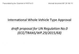 Transmitted by the Chairmen of IWVTAIG Informal document